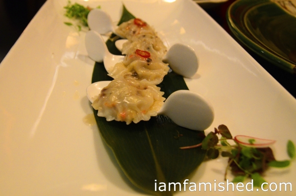 Kani Ravioli (full flavored crab mix in thin flour skin, shaped like Ravioli)