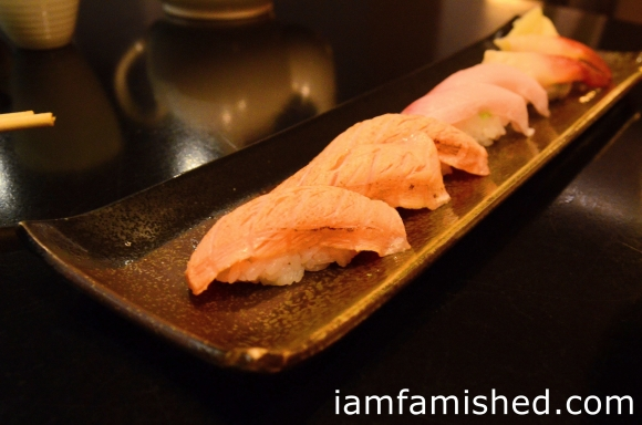 Sushi - Hamachi Toro (king fish belly) - Hokki Gai (surf clam) - Salmon Toro (belly of salmon)
