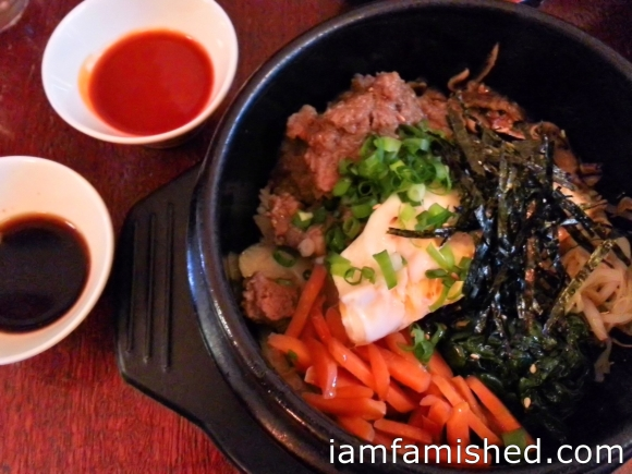 Bibimbab (rice topped with marinated vegetables, beef, fried egg, soy and Korean chilli sauce, served with miso soup)