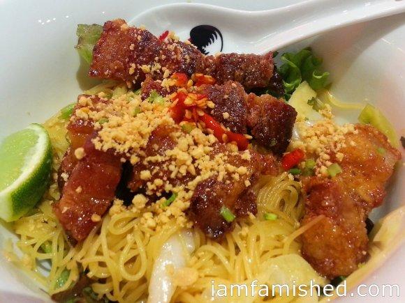 Black pork noodle (sticky black caramelised pork swimming in noodles)