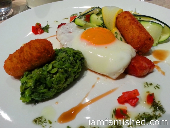 Bacon Steak & Smoked Jalapeno Cheese Croquette (eggs sunny side up, new season tomato & pea salsa, whipped goat's fetta)