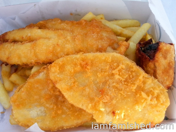 Fish & Chips (Half Moon Bay Pack) - dory, 2 potato cakes, 1 dim sim and fresh chips