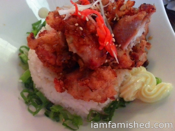 Karaage Don (rice with fried chicken & sauce)
