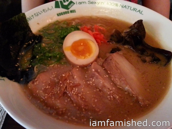 Kokoro Ramen Hakata TONKOTSU SHOYU (Pork Belly - extra slice soft-cooked, long-marinated juicy pork belly) Soup: Tonkotsu Pork Bone Noodle: Hosomen (Thin, Straight Egg Noodle) Flavour: Shoyu (Soy Sauce) Served With: Spring onion, red ginger, black fungi, sesame seeds, ajitama egg. Flavour Notes: Rich, savoury tonkotsu broth balances well with soy flavour for a mild, almost sweet finish.