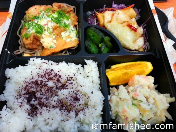 Chicken Nanban Bento (deep fried Marinade chicken over night with soy base sauce, tartar sauce soba noodle, gyoza, spring roll, potato salad, Japanese pickle with steamed rice & miso soup)