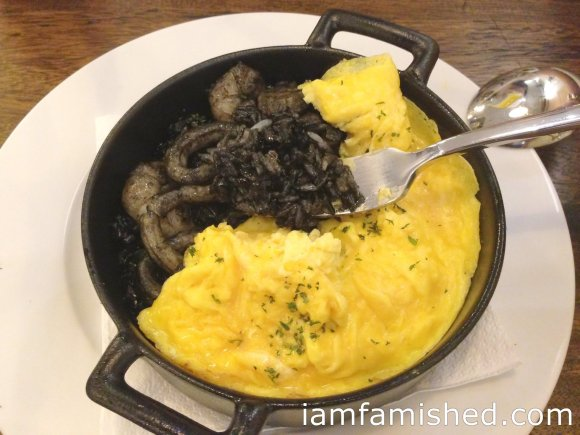 Riz Noir Squid Ink Rice with assorted seafood (black rice & omu egg)