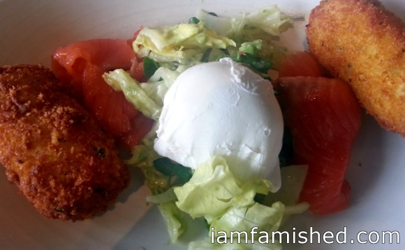 Corn Croquettes - smoked salmon, snowpea tendrils with lemon dressing and poached egg.