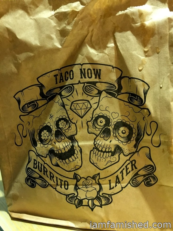 'Taco Now, Burrito Later' brown bag