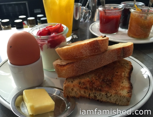 CUMULUS INC. breakfast (boiled egg, toast, preserves, yoghurt, organic orange juice & coffee or tea) 1