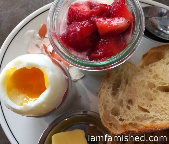 CUMULUS INC. breakfast (boiled egg, toast, preserves, yoghurt, organic orange juice & coffee or tea) 2