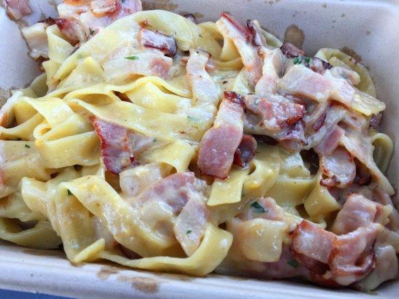 Pasta: Fettucine Carbonara (smokey bacon, egg, parmigiano, cream, parsley and cracked pepper)