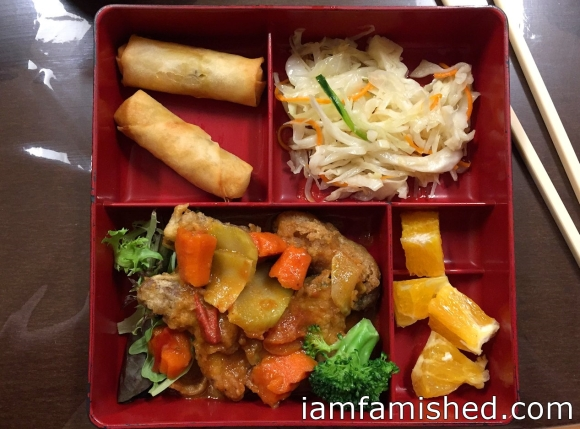 Bento Box (crispy vegetarian fish in tom yum)