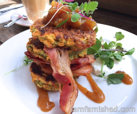 Corn Fritters with grilled bacon, homemade relish, sour cream and coriander