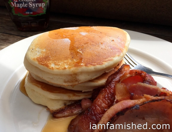 Pancake Stack with bacon and Canadian 100% maple syrup