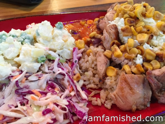 Prato Grande (big plate) - Brazilian rice, Brazilian BBQ chicken fresh off the grill, coleslaw, potato salad, corn