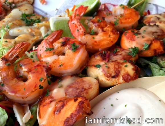 Seafood platter - Sweet Chilli Prawns and Marinated Scallops Skewers