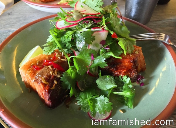 Bacon, Get In Ma Belly (pork belly with sticky swet chilli and fennel seed sauce with bacon, caper, coriander and lime salad) - Bacon Festival Menu