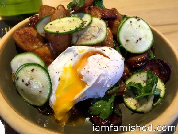 Crispy potato, soft poached eggs, chorizo, parsley & zucchini